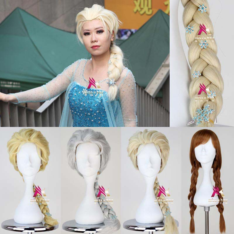2013 New Cartoon Movie Froze Snow Queen Elsa Anna Wig Long Braid Cosplay Anime Wig Classic Halloween Hair(China (Mainland))
