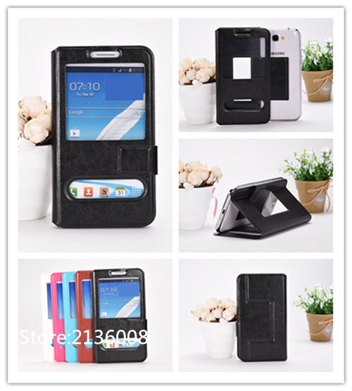 For Prestigio Grace Q5 PSP5506DUO Case High Qualit Fashion Mobile Phone Leather Case With Big Mobile Window Free Shipping(China (Mainland))