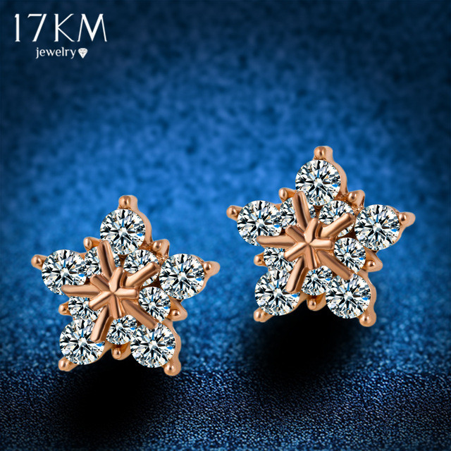 Crystal Snowflake Stud Earring Brincos Gold Plated Snow Flower Earrings  Pendiente Earrings For Women Gift boucle doreille <br><br>Aliexpress