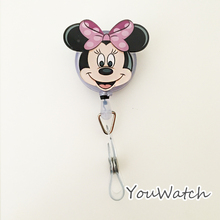 Fashion 1pcs Cute Cartoon Minnie Retractable Reel ID BUS Card Badge Holder School Office Supplies With Metal Clip Easy to Use(China (Mainland))