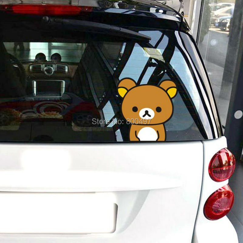 Newest Car Styling Cartoon Bear Rilakkuma Peering Car Stickers Car Decals for Toyota Chevrolet Volkswagen Fiat BMW Kia Ford Lada(China (Mainland))