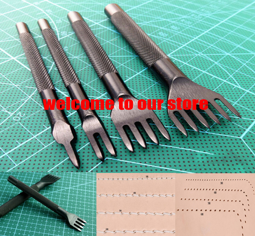 Home DIY leathercraft 4mm Round Spacing Pro-Line Pro-Stitch Leather Craft Chisel Hole Punching Tool 1/2/4/6 Prong leather Tools(China (Mainland))
