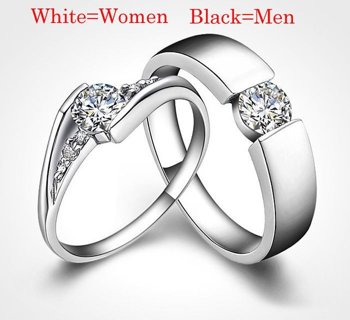 Romantic His Her Matching Promise Rings,Vintage Sterling Silver Couple Rings,Cool Love Couples Crystal Diamond Promise Rings(China (Mainland))