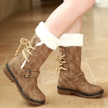 Buckle Slip On Women Winter Snow Boots Solid Concise Winter Fur Boots For Women Round Toe Winter Women Flats Fashion Shoes(China (Mainland))