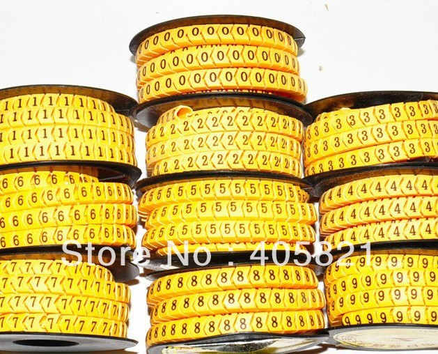 EC-2 number 0-9 Insulate Plastic Round Cable Marker For Cable and Sign 4mm2 10roll/lot<br><br>Aliexpress