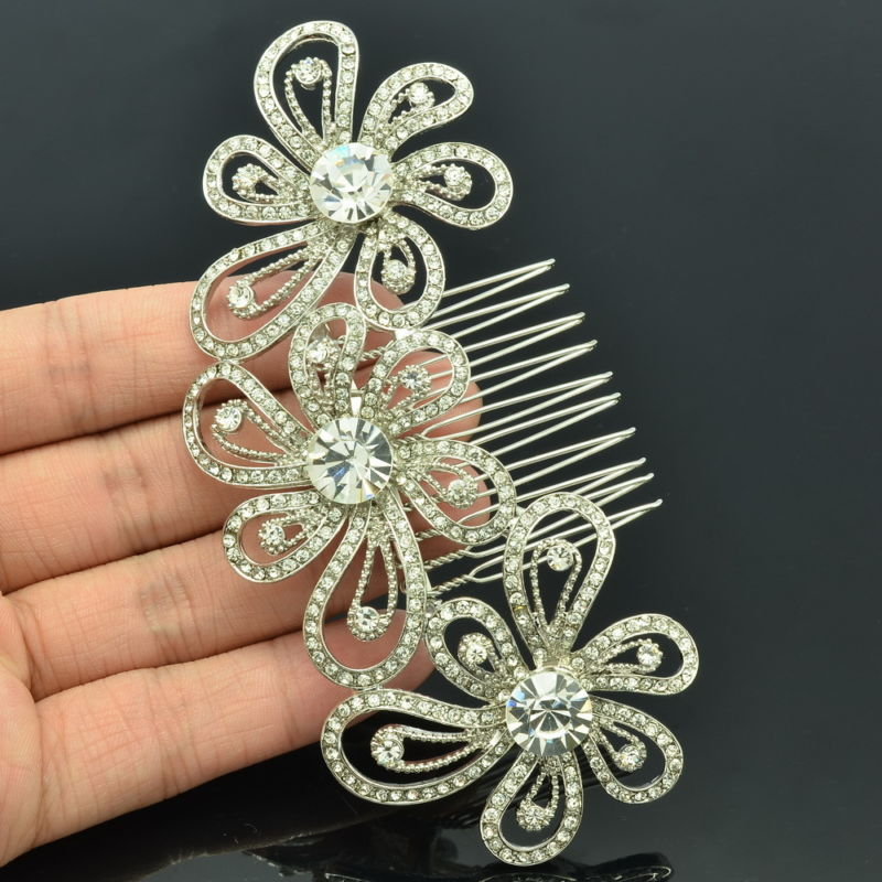 Wedding Jewelry Bridal Hairpins Accessories Clear Rhinestone Crystals Tiara Flower Hair Comb Headband For Free Shipping FA3239(China (Mainland))