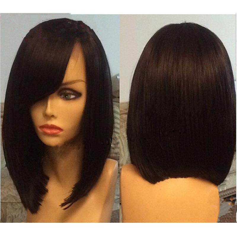 bob wigs side bangs human hair lace front bob wig guleless