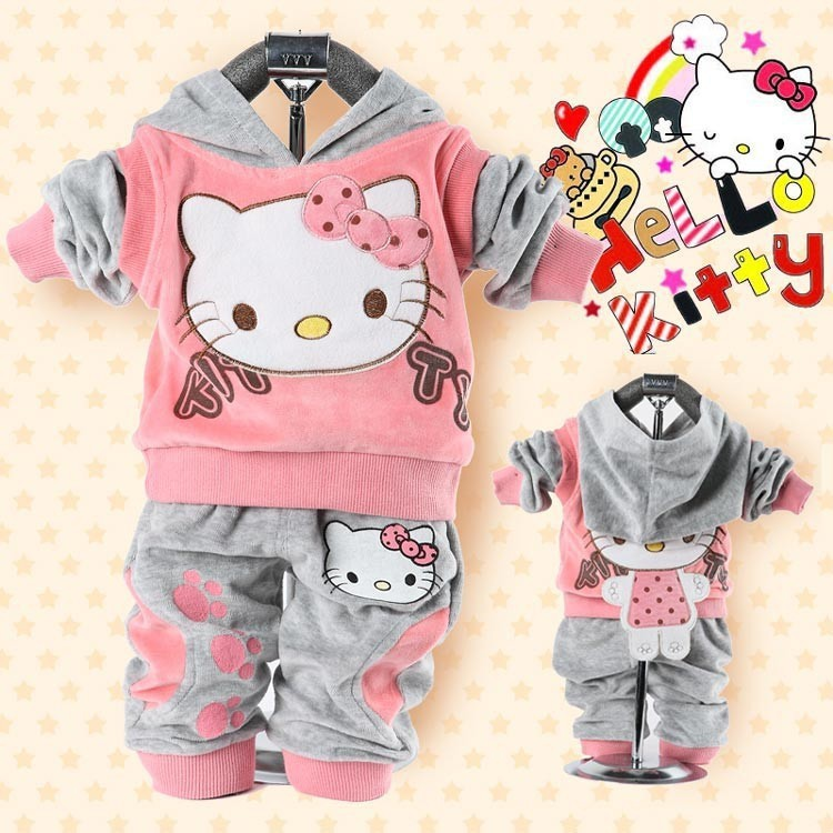 Retail baby 2piece suit set tracksuits Girl's Hello Kitty clothing sets velvet Sport suits hoody jackets +pants 2pcs set NEW(China (Mainland))