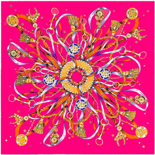 100 см * 100 см 100% саржевые шелк евро марка дизайн канатных кистями и цепи металлический знак рисунок женщины размер квадратного шарф большой платок B105