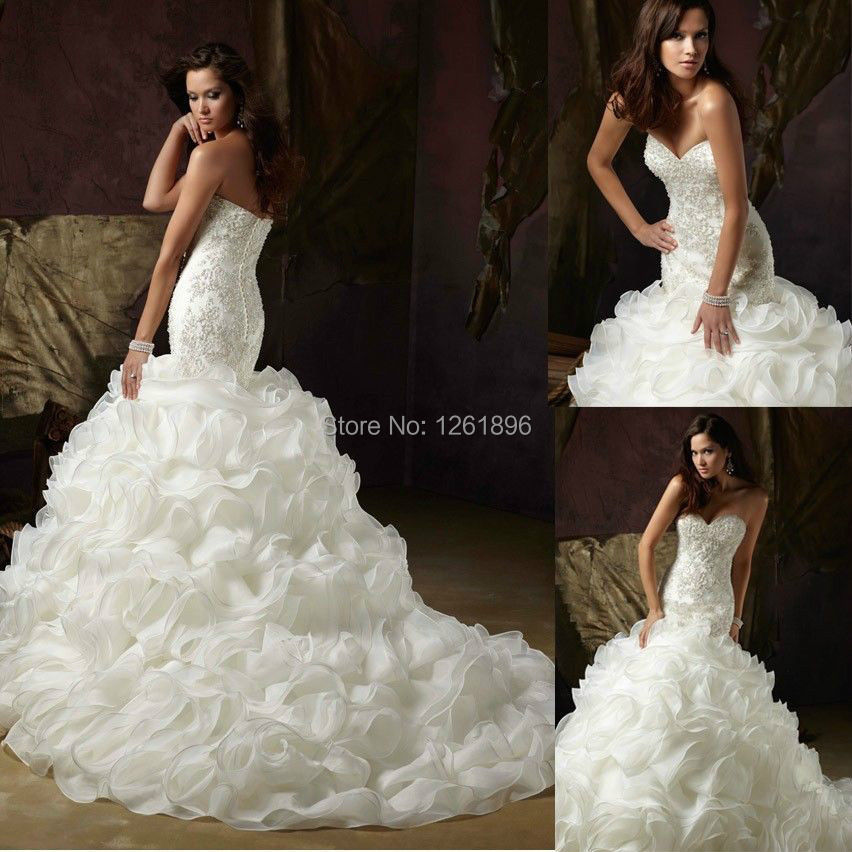 2014 mermaid cascade bridal wedding gown fishtail wedding for Custom mermaid wedding dress