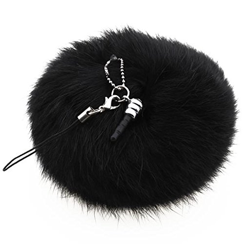 Black Rabbit Fur Ball Phone Cellphone String Charm Strap Anti Dust Plug 80mm(China (Mainland))