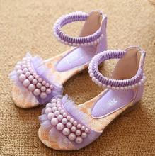 2016 New Children Sandals Girls Sandals Summer Fashion Princess Lovely Pearl Design Kids Sandal  Girls Shoes(China (Mainland))
