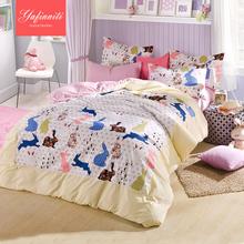 4 ピース 100%綿の漫画かわいい寝具セット布団カバー/ベッド シーツ/枕カバー/クイーン サイズ