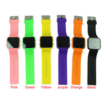 Hot Marketing Good Quality Fashion Classical Colorful Mirror Face LED Silicone Sport Wrist Watch Free Shipping 1pcs(China (Mainland))