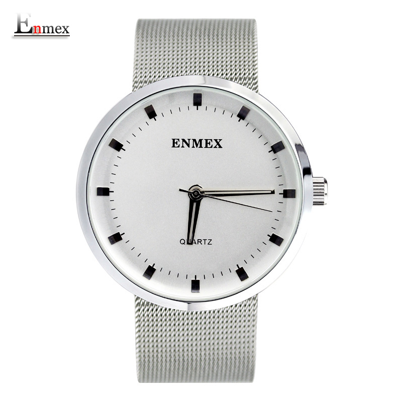2017Enmex creative wristwatch Nordic design simplicity Fresh and clean style stainless steel simple face fashion quartz watches(China (Mainland))