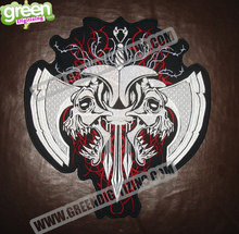 Hot sale! Fashion Skull Embroidered Patches for Full Back Size of Jackets Motorcycle Biker Patch 30CM*28CM Free Shipping(China (Mainland))