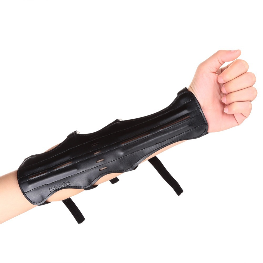 Pellor Black Leather Shooting Archery Arm Protection Safe Strap Guard Protective Gear