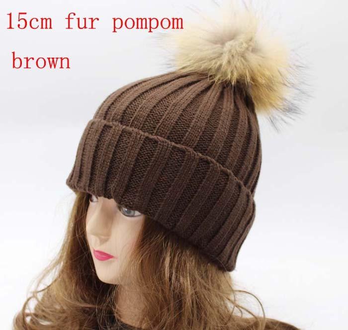 אופנת נשים חורף פרווה סרוג כובע גרב לסרוג כובעים עם 18cm אמיתי פרווה דביבון פונפונים, כובעי האוזן להגן החורף סיבתי כובעים
