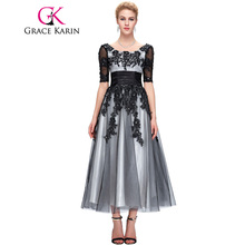 Grace Karin Long Lace Evening Dresses 2017 Elegant Half Sleeve Black White Champagne Formal Dress Ball Evening Gowns Plus Size(China (Mainland))