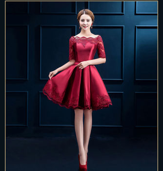 style vintage neck Half sleeve big swing red dress robe women prom cocktail casual dresses vestidos 2016 new formal dress BK26