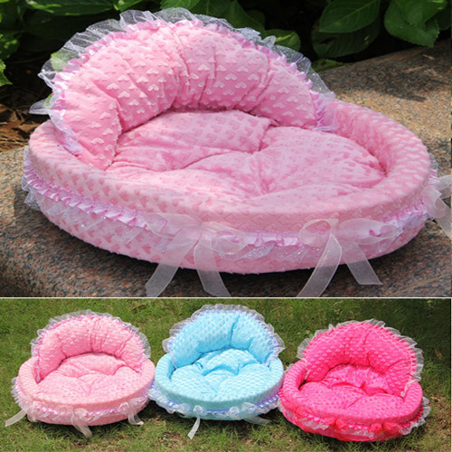 Ventas calientes! Cotton Puppy Fleece Warm Bed Luxury Dog Princess Bed Lovely Cool Pet Beds Sofa Teddy House Pink and Blue Color(China (Mainland))