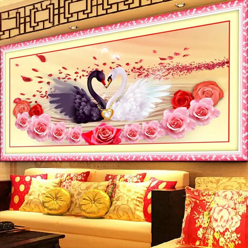 5D round Diamond Rose Swan Animal handwork Needlework Patterns cross stitch set painting embroidery DIY handmade wall home decor(China (Mainland))