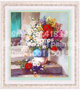 free shipping diy ribbon embroidery set 40x45cm floral flower paintings needlework room decoration unfinish(China (Mainland))