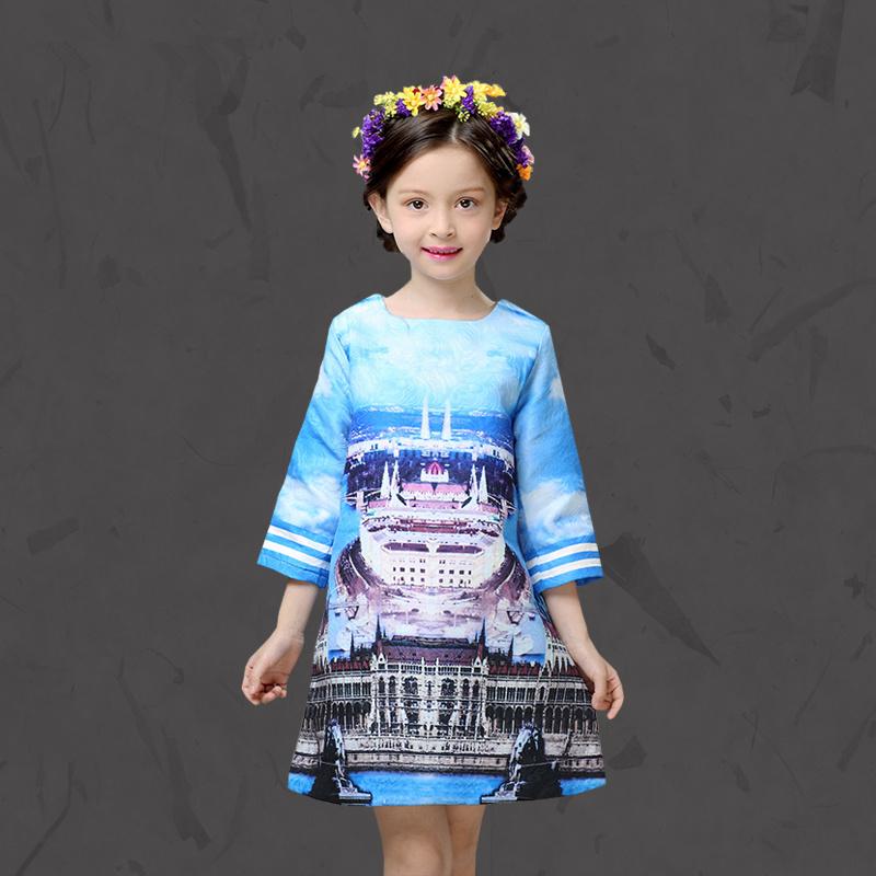 2016 new Girl Winter Butterfly Princess dress Infant party dress 2016 castle Print Children Kids Dress for Girls Autumn Dresses(China (Mainland))