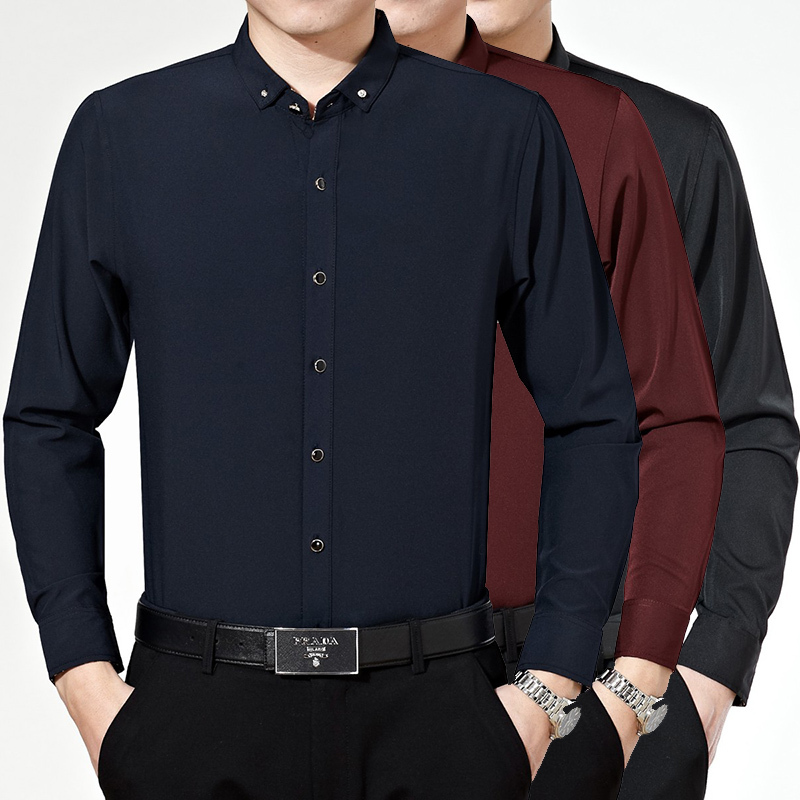 Stylish Mens Home Brand Oem Dress Shirt Solid Color Long