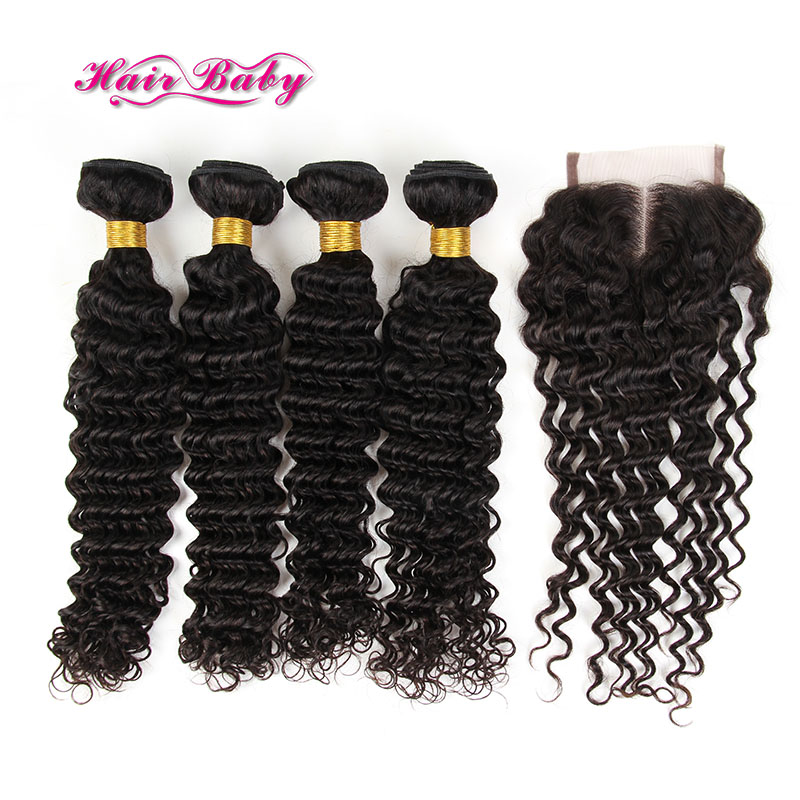 Peruvian Deep Wave With Closure 4 Bundles Queen Deep Wave Hair With Closure Bundle Peruvian Cheap Human Hair With Closure Piece