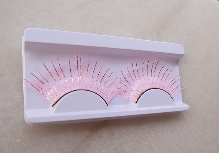 False eyelashes pink color gold strips stage makeup/drama/art perform - jessie king's store