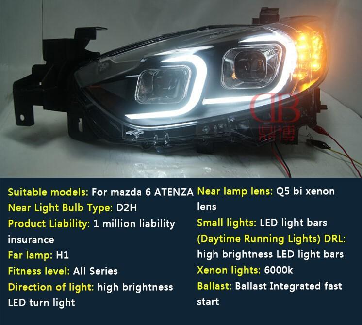 Auto Clud headlights For Mazda 6 Atenza 2014-15 LED light bar DRL D2H xenon mazda 6 headlamps Q5 bi xenon len parking car stylin