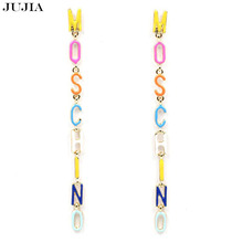 Fashion Long letters earring high quality women fashion design statement stud Earrings for women jewelry wholesale(China (Mainland))