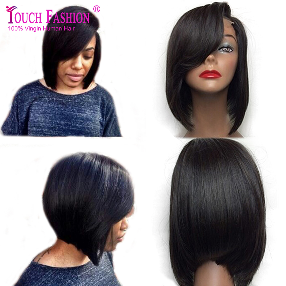 Гаджет  Short 100% Grade 6A Virgin Indian Human Hair Lace Front Bob Wig Glueless Straight Bob Lace Wigs For Black Women With Side Bangs None Волосы и аксессуары