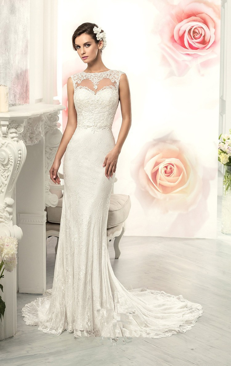 Elegant scoop sheath wedding dresses sweep train backless for Backless sheath wedding dresses