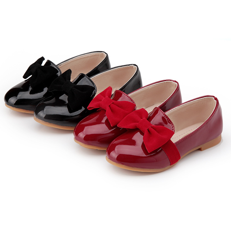 T2016 New Children Leather Shoes Girls Bow Leather Shoes Black Wine Red Fashion Princess Peas Leather Shoes(China (Mainland))