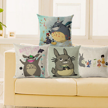 Cartoon Cushion Cover Totoro Pillowcase Japan Throw Pillow Case Cute Animal free Shipping cojines nordicos vintage
