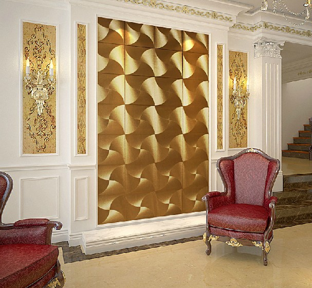 Modern luxury gold 3d wallpaper pvc waterproof fashion for Gold wallpaper living room