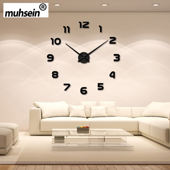 2017wedding decoration WallClock Watch muhsein 3D DIY Acrylic Mirror Wall Stickers  Decor Living Room Quartz Needle FreeShipping
