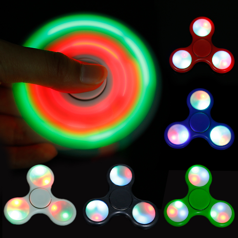 LED Light Fidget Spinner Finger ABS EDC Hand Spinner Tri For Kids Autism ADHD 5 Styles Anxiety Stress Relief Focus Handspinner(China (Mainland))