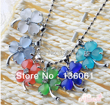 10PCS Vintage Silver Copper Clover Opal &Rhinestone Necklaces Pendant  Charms Statement Collar Choker Accessories DIY Gifts P865(China (Mainland))