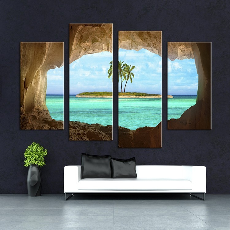 Frame 4 Piece Coconut Trees Island Canvas Painting Home Decoration Pictures Wall Pictures For Living Room Modular Pictures
