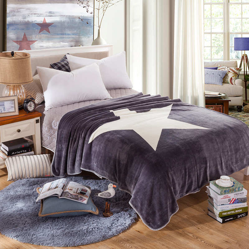 Five-pointed Star Blanket Spring Autumn Quilt for Children Adults Flannel Covers Single/Double Layer Coral Fleece BLANKET(China (Mainland))