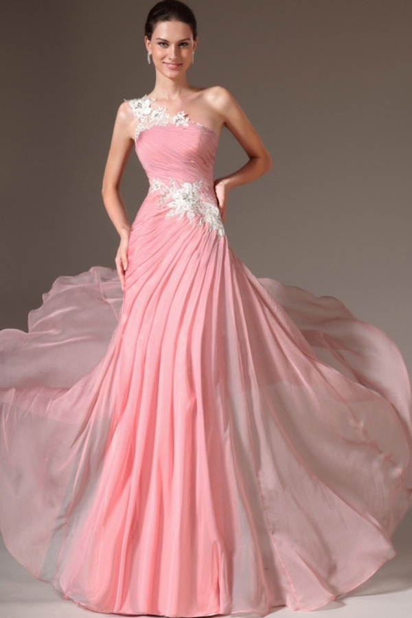 Pale Pink Long Prom Dress 2015 One Shoulder Sleeveless A Line With Appliques Floor Length Chiffon Evening Custom Made Prom Gown(China (Mainland))