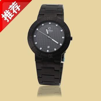 free shipping Obaku watch commercial electric male waterproof ip black steel inveted belt