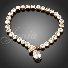 18KRGP Gold Plated Austrian Crystal Strand with Heart Crystal Pendant Bracelet FREE SHIPPING (Jenia PH031)(China (Mainland))