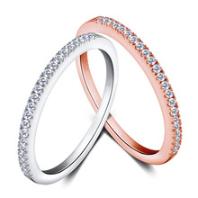 100% Real. 925 Sterling Silver Half CZ Covered Eternity Love Ring for Women 1.5MM Gold Tone, White Tone Engagement  jewelry J429(China (Mainland))
