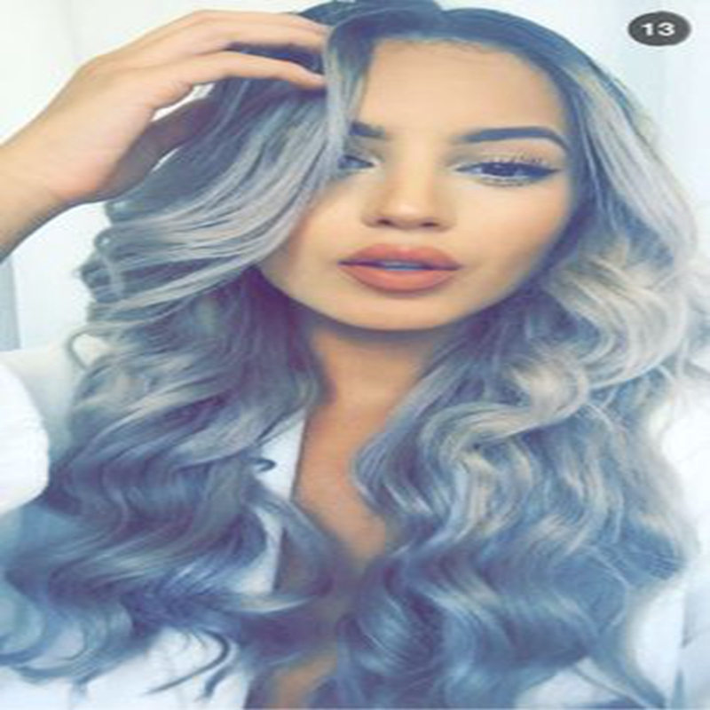 Sexy Grey Dark Roots Cosplay Wigs Women Synthetic Ombre Grey Wigs Long Big Wave Lace Front Wig Two Tone Side Part <br><br>Aliexpress