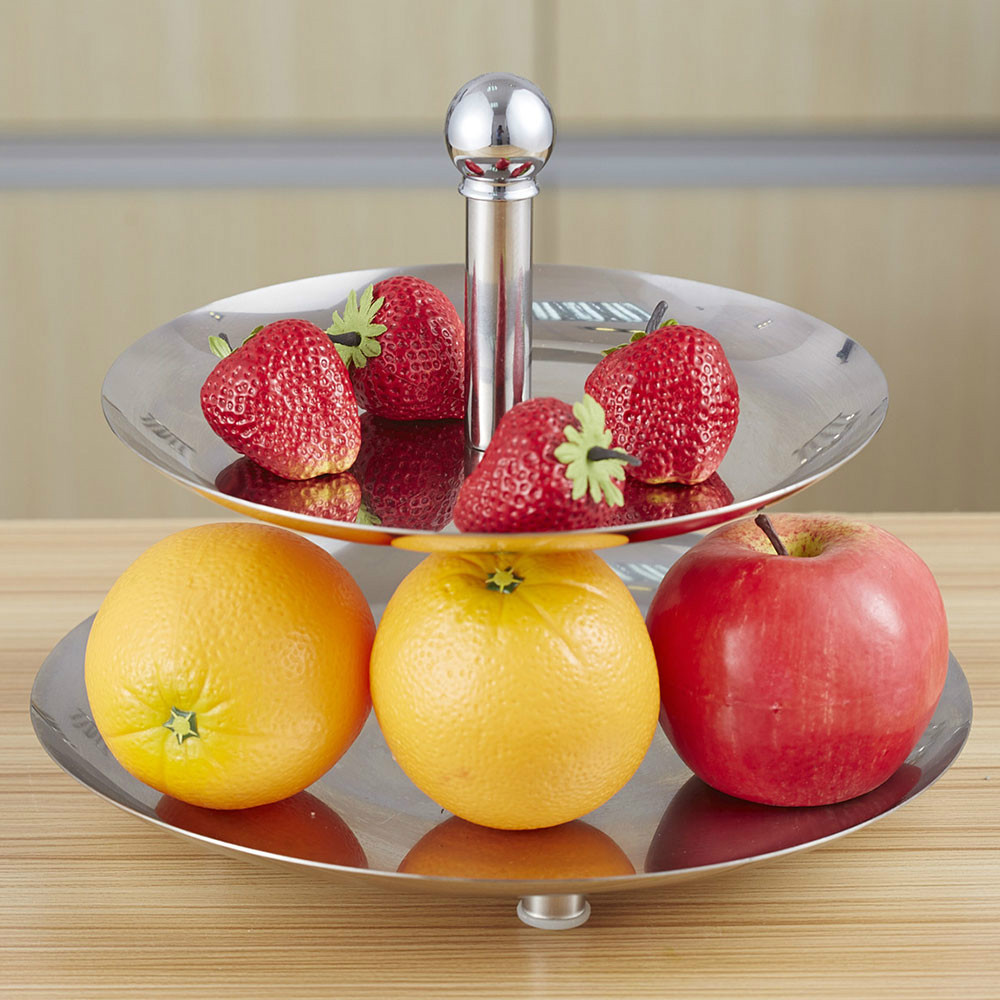 Victorias Stainless Steel 2 Layer Fruit Plate, Cake stand, Afternoon Tea Dessert Dish, Dried Fruit Plate(China (Mainland))