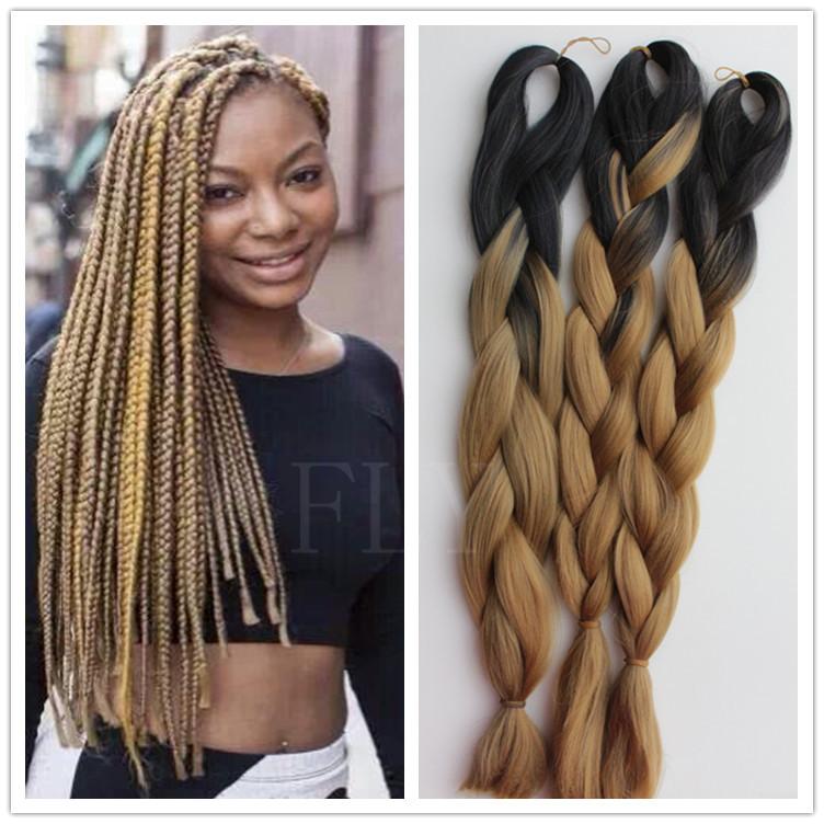 3packs Lot Ombre Kanekalon Braiding Hair Synthetic Hair